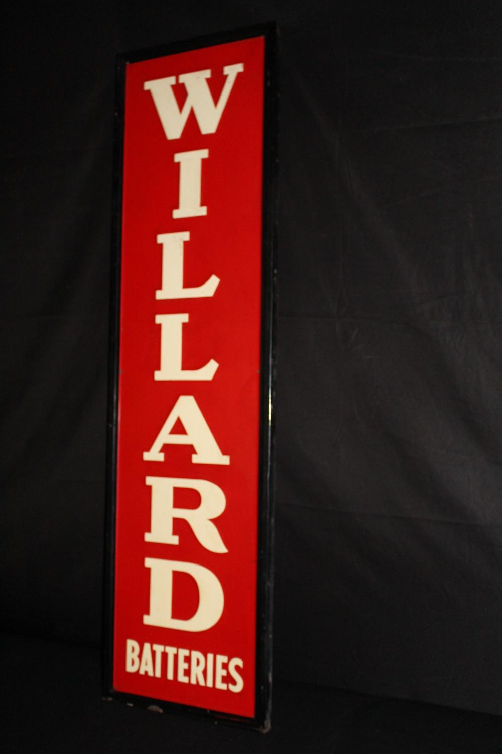 WILLARD BATTERIES EMBOSSED TIN SIGN
