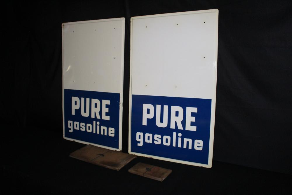 2 NOS PURE GASOLINE GAS PRICER SIGNS & NUMBERS