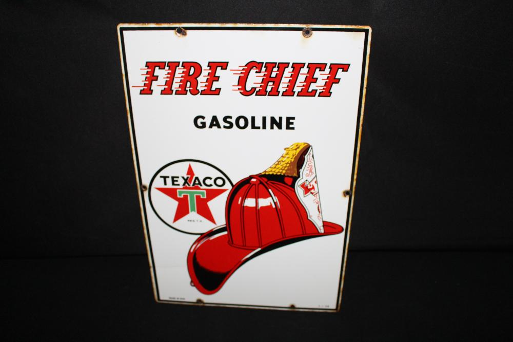 1958 PORCELAIN TEXACO FIRE CHIEF GAS PUMP SIGN