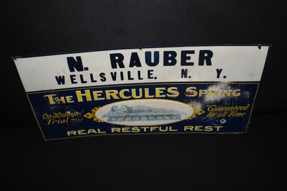 HERCULES BED SPRING WELLSVILLE NY TIN SIGN