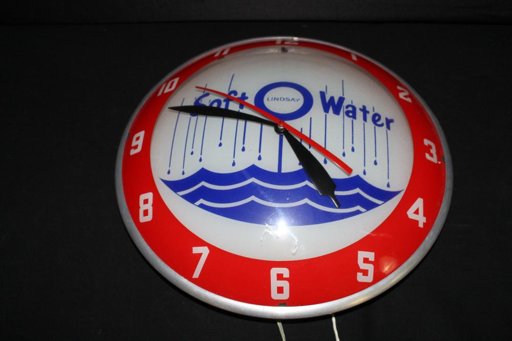 LINDSAY SOFT WATER DOUBLE BUBBLE CLOCK SIGN