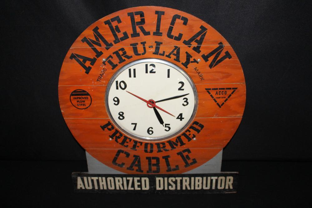 AMERICAN TRU-LAY CABLE DISTRIBUTOR CLOCK SIGN