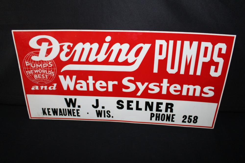 DEMING WATER PUMPS KEWAUNEE WISCONSIN SIGN