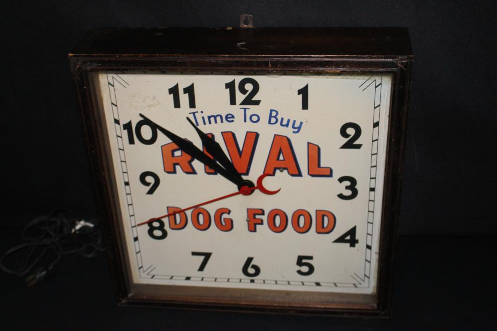 RIVAL DOG FOOD CLOCK SIGN