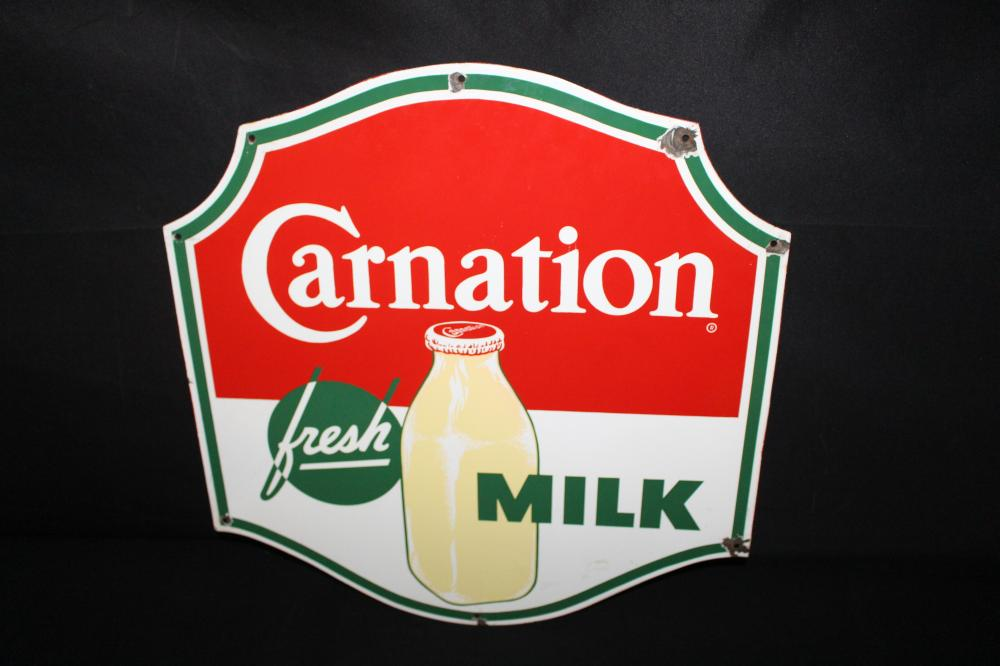 PORCELAIN CARNATION FRESH MILK SIGN