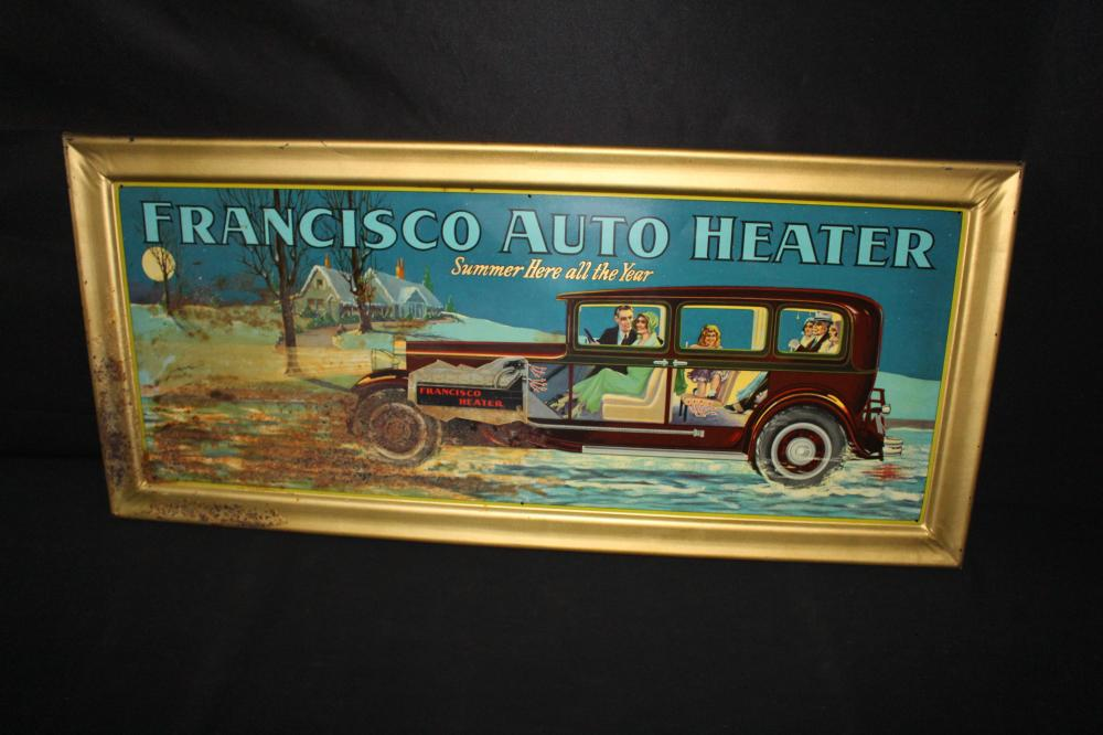 FRANCISCO AUTO HEATER TIN LITHO SIGN