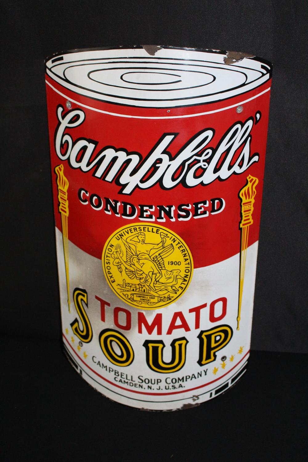 PORCELAIN CAMPBELLS SOUP CURED CORNER SIGN