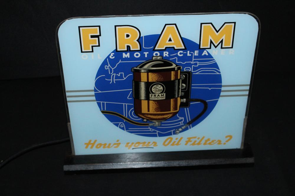 RESTORED FRAM OIL & MOTOR CLEANER BUBBLER SIGN