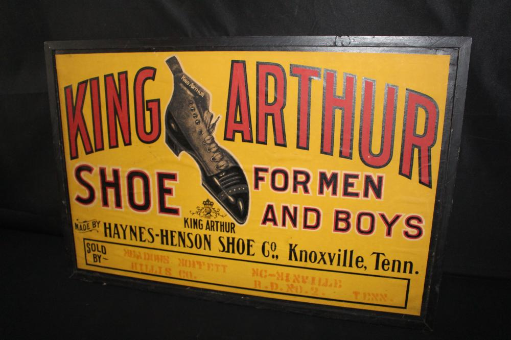 KING ARTHUR SHOE CO KNOXVILLE TN LITHO POSTER SIGN