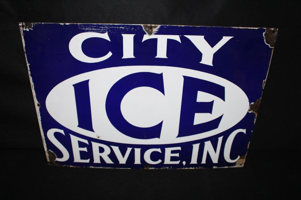 PORCELAIN CITY ICE SERVICE SIGN