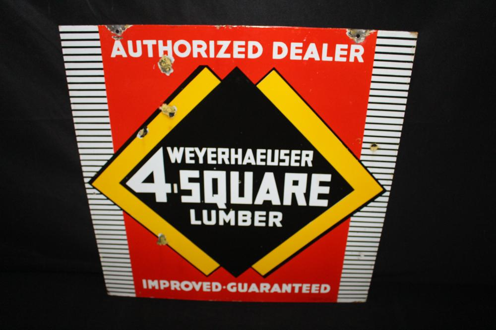 PORCELAIN WEYERHAUSER 4 SQUARE LUMBER DEALER SIGN