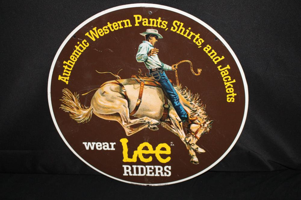 LEE RIDERS WESTERN WEAR BLUE JEANS TIN SIGN