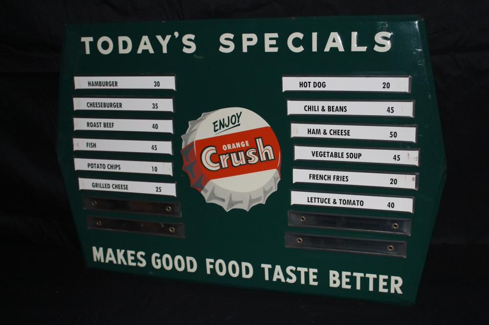 ORANGE CRUSH SODA POP MENU BOARD SIGN