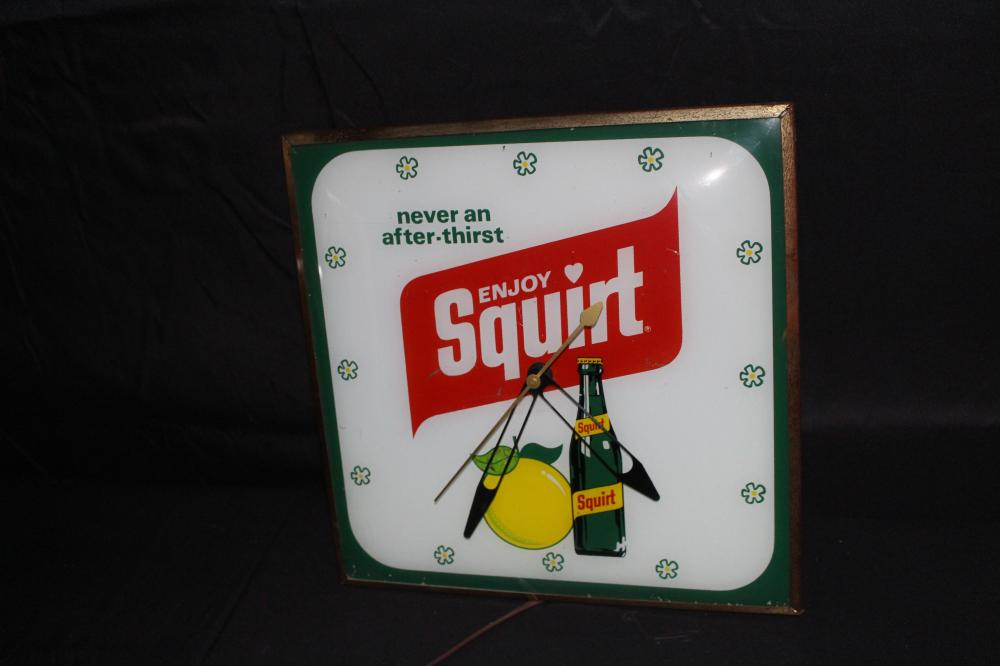 ENJOY SQUIRT SODA POP CLOCK SIGN