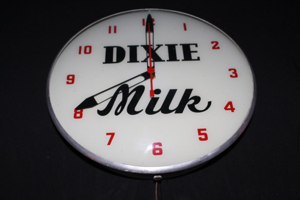 DIXIE MILK CLOCK SIGN