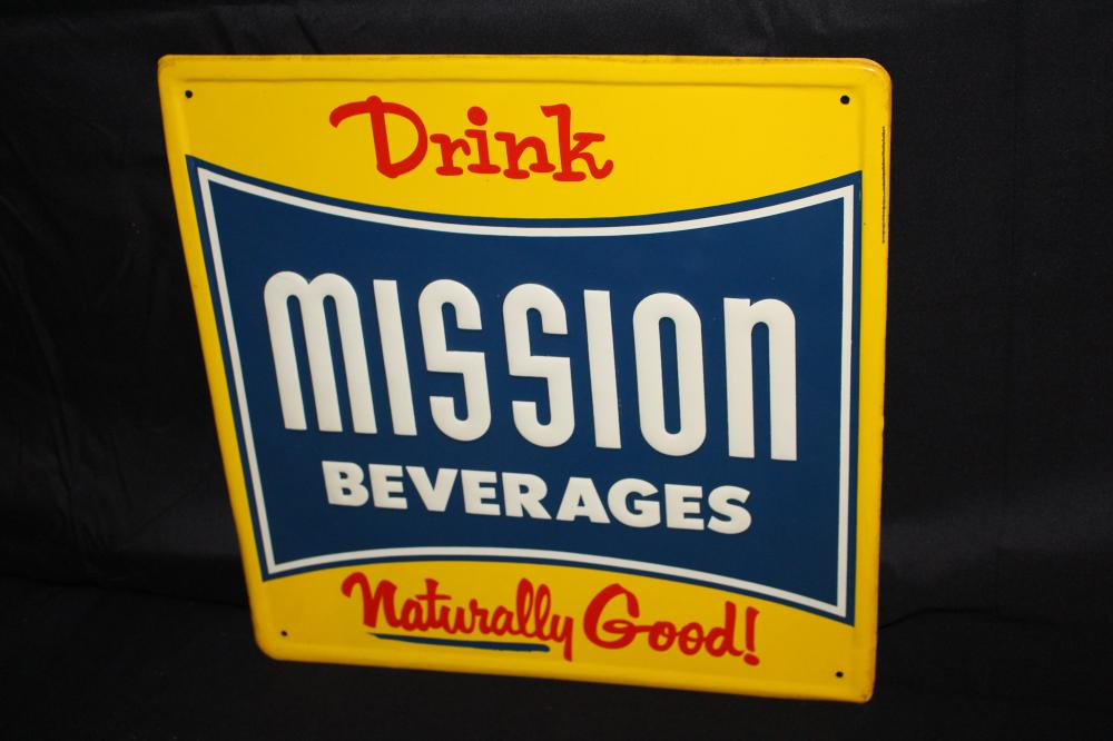 DRINK NATUARALLY GOOD MISSION BEVERAGES SIGN