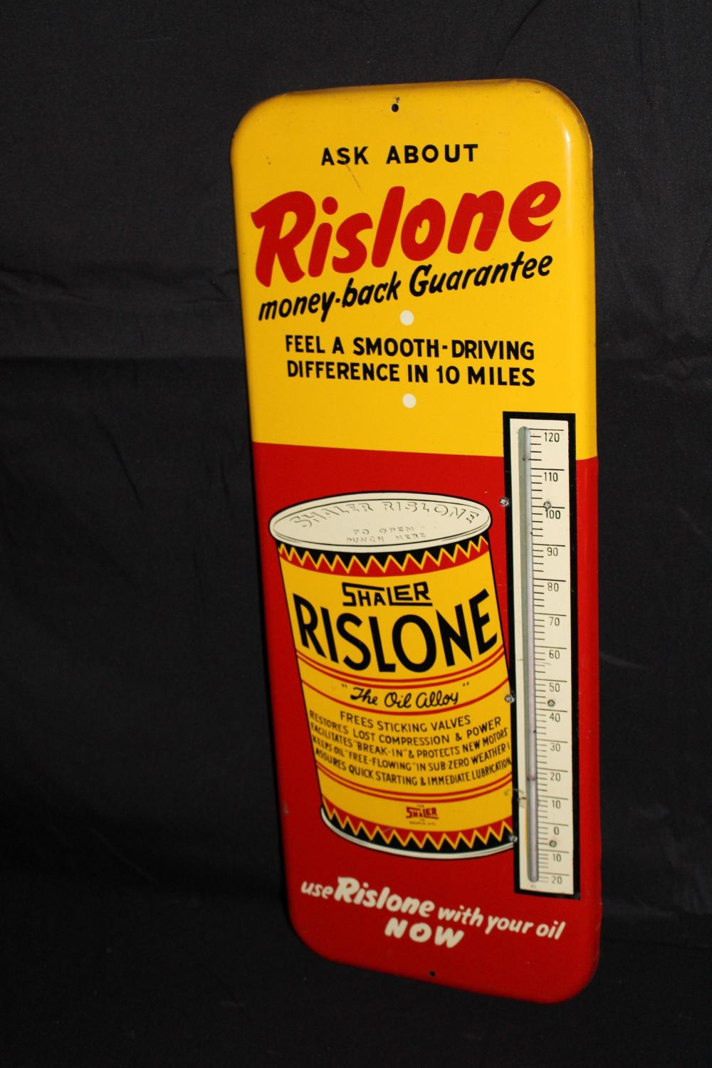 SHALER RISLONE OIL ADDATIVE THERMOMETER SIGN