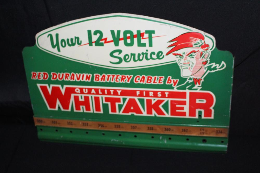 12 VOLT WHITAKER BATTERY CABLE RACK SIGN