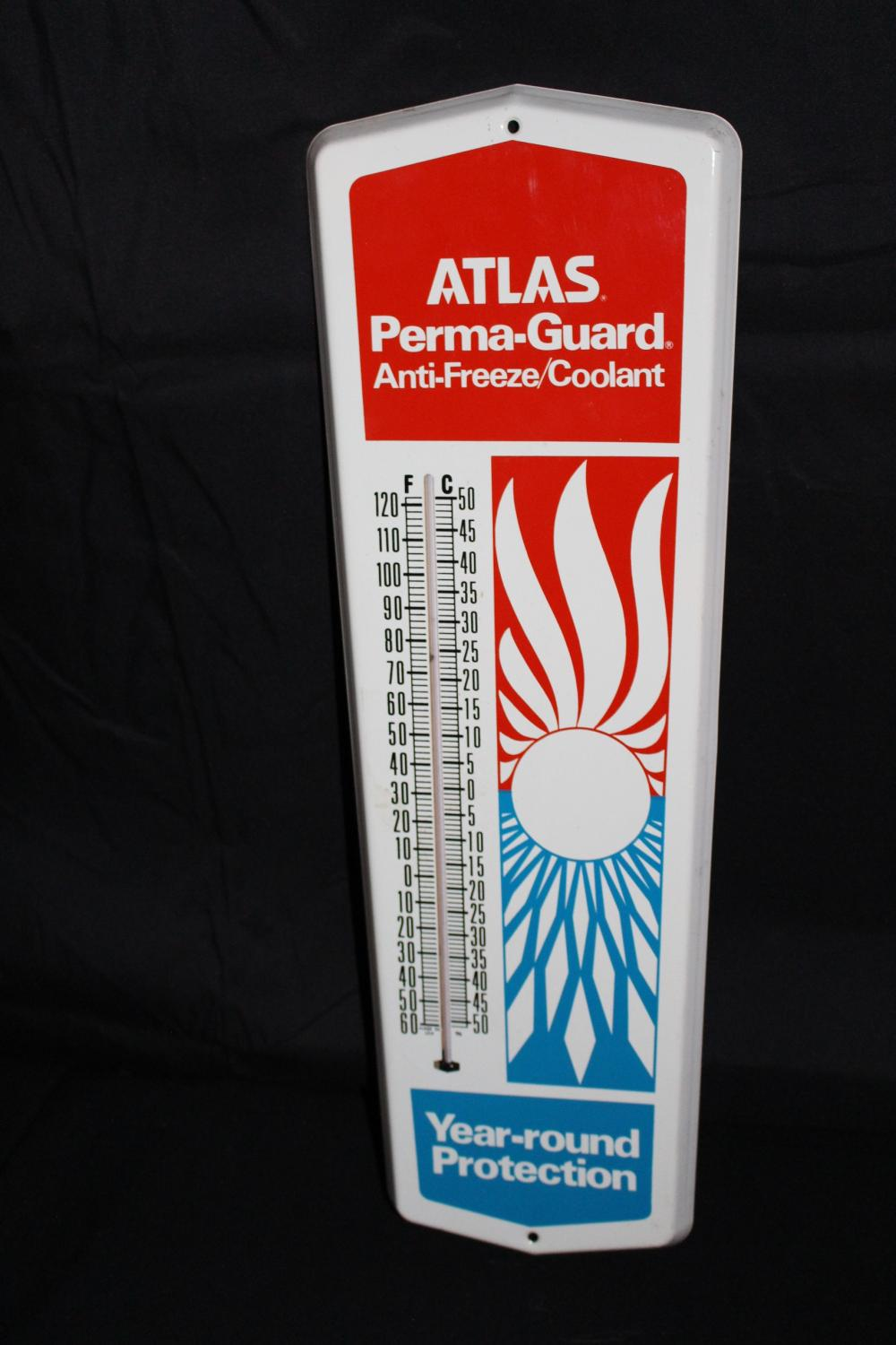 ATLAS PERMA GUARD ANTI FREEZE THERMOMETER SIGN