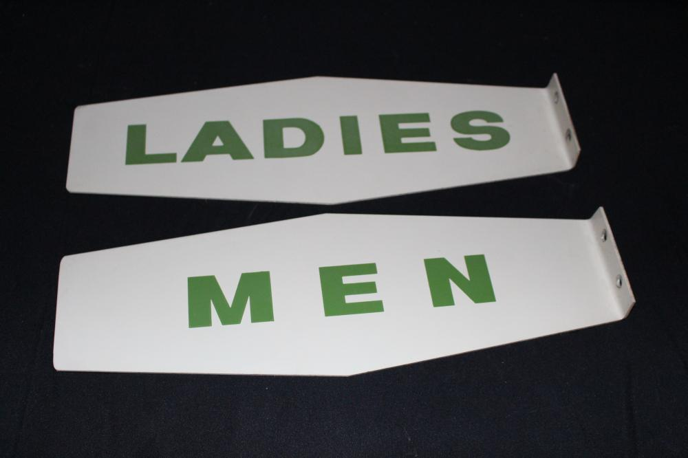 TEXACO LADIES & MENS REST ROOM FLANGE SIGNS