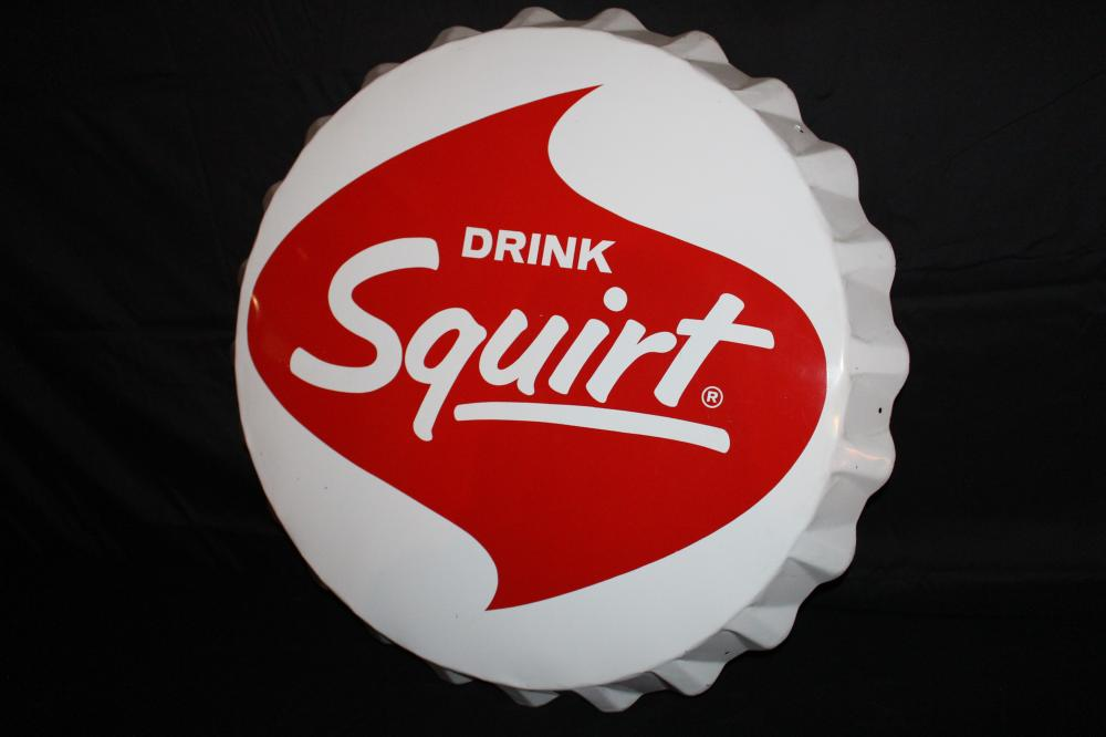 DRINK SQUIRT SODA POP BOTTLE CAP SIGN