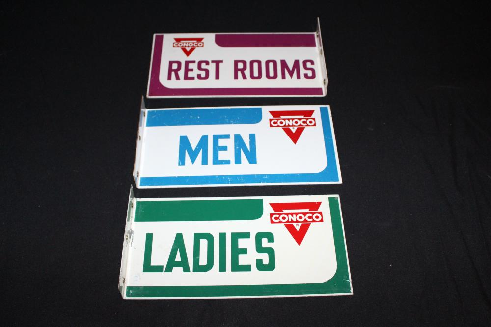 SET OF 3 CONOCO GAS STATION RESTROOM FLANGE SIGNS