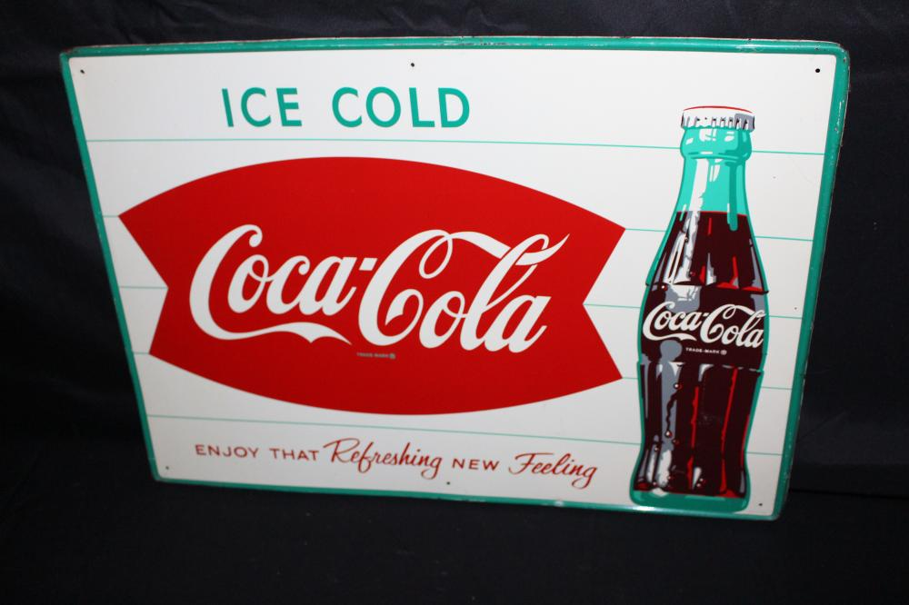 ICE COLD COCA COLA FISHTAIL SODA POP SIGN
