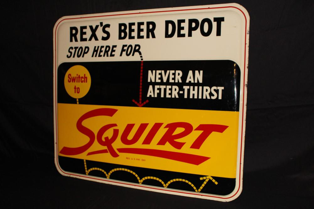 REX'S BEER DEPOT SQUIRT SODA POP SIGN