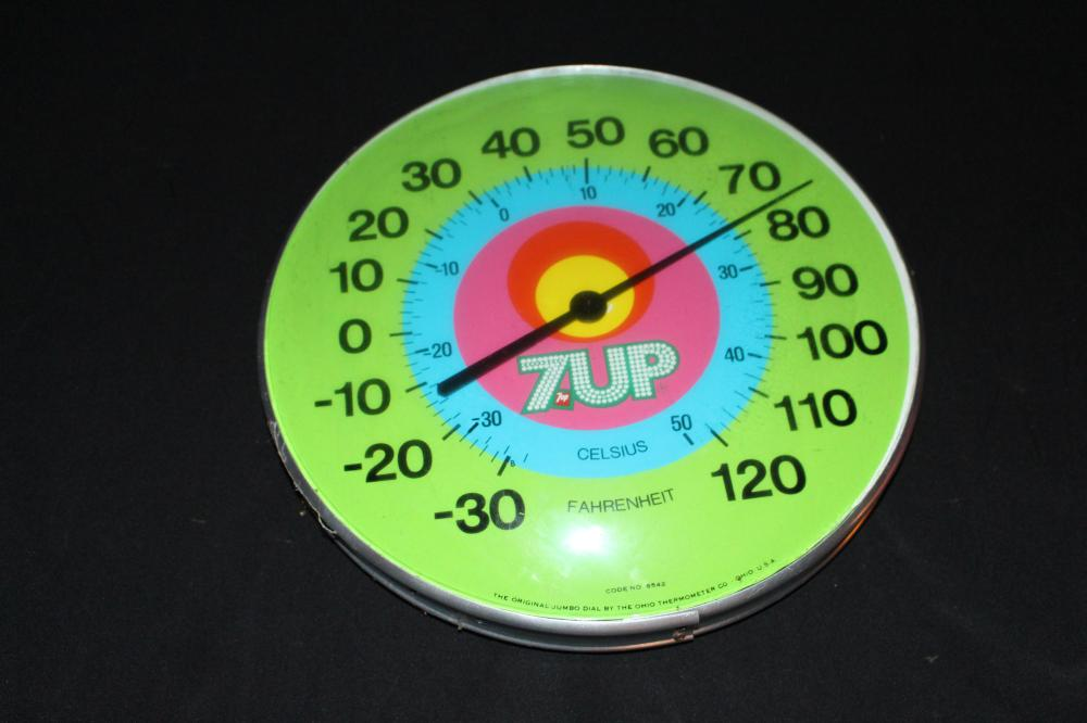 7-UP SEVEN UP SODA POP THERMOMETER SIGN