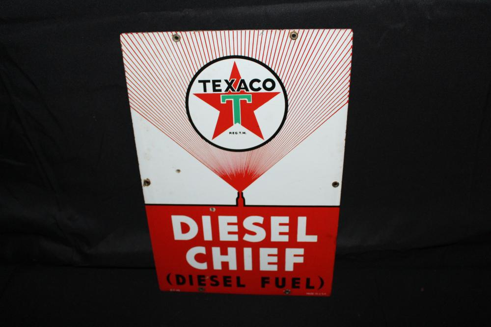 PORCELAIN TEXACO DIESEL CHIEF GAS PUMP SIGN