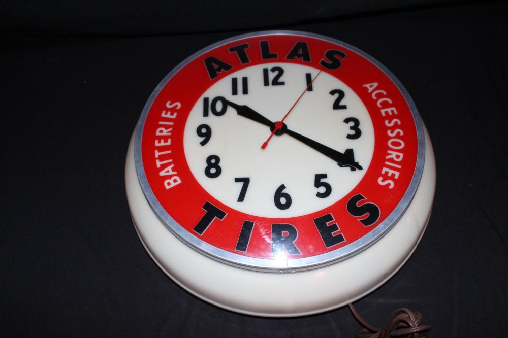 ATLAS TIRES & BATTERIES & ACCESSORIES CLOCK SIGN
