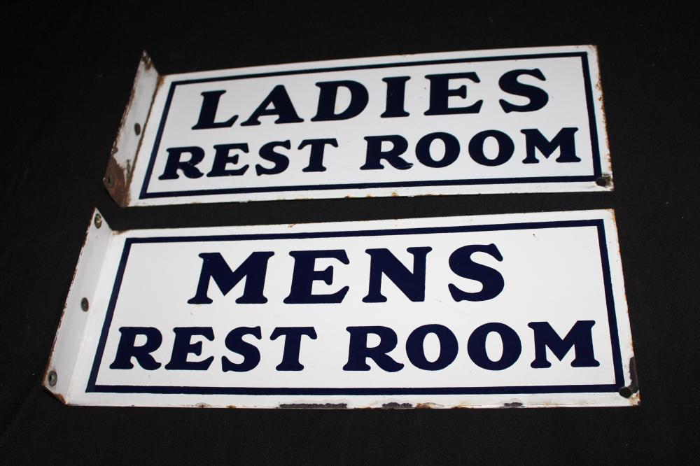 PAIR PORCELAIN MENS & LADIES REST ROOM SIGNS