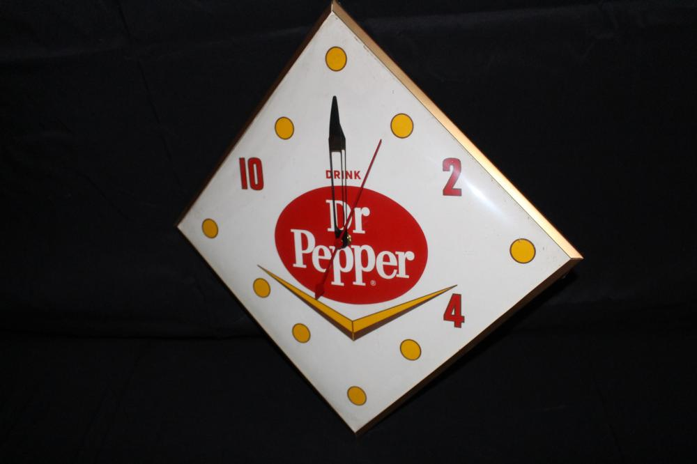 DRINK DR PEPPER SODA POP CLOCK SIGN