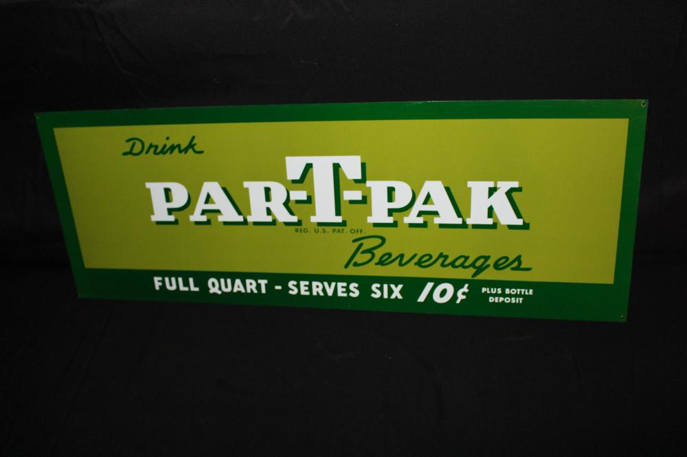 PAR T PAK BEVERAGES 10 CENT SODA POP SIGN