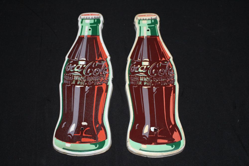 PAIR PORCELAIN COCA COLA BOTTLE SIGNS
