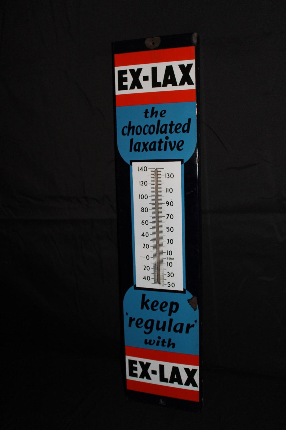 PORCELAIN EX LAX THERMOMETER SIGN