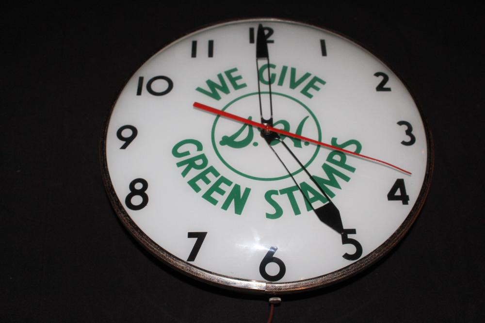 WE GIVE S&H GREEN STAMPS CLOCK SIGN
