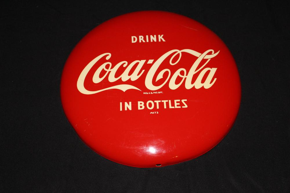 "12"" DRINK COCA COLA IN BOTTLES BUTTON SIGN"