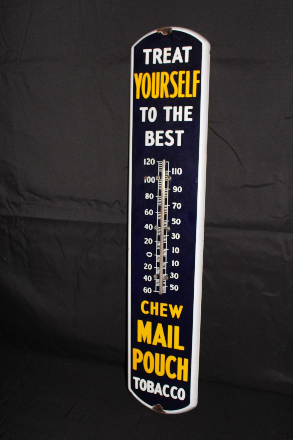 PORCELAIN CHEW MAIL POUCH TOBACCO THERMOMETER