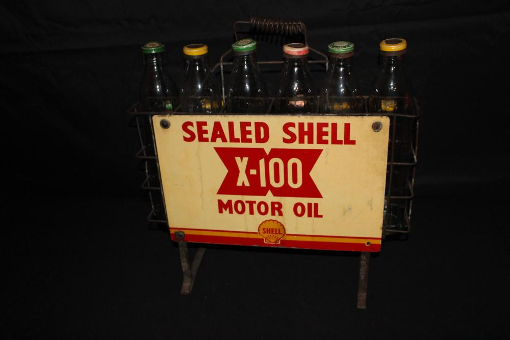 SEALED SHEL X-100 OIL BOTTLE RACK