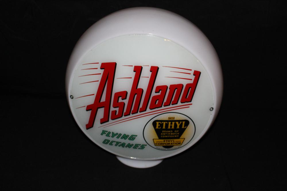 ASHLAND ETHYL FLYING OCTANES GAS PUMP GLOBE