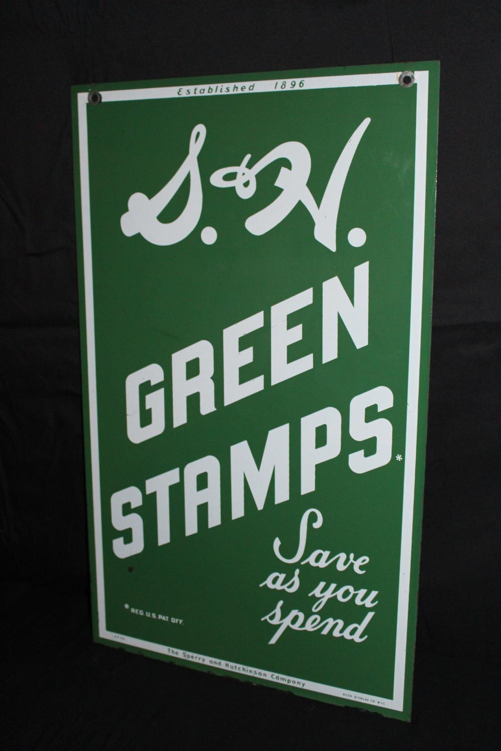 S&H GREEN STAMPS PORCELAIN SIGN