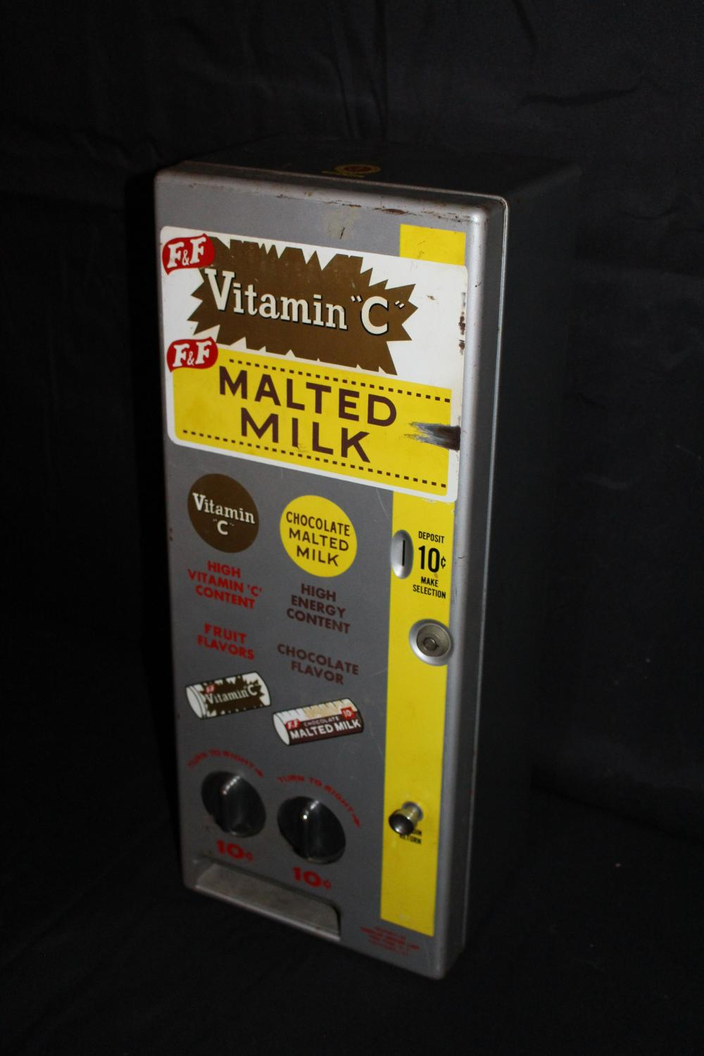 F&F COIN OPERATED MALTED MILK VENDING MACHINE