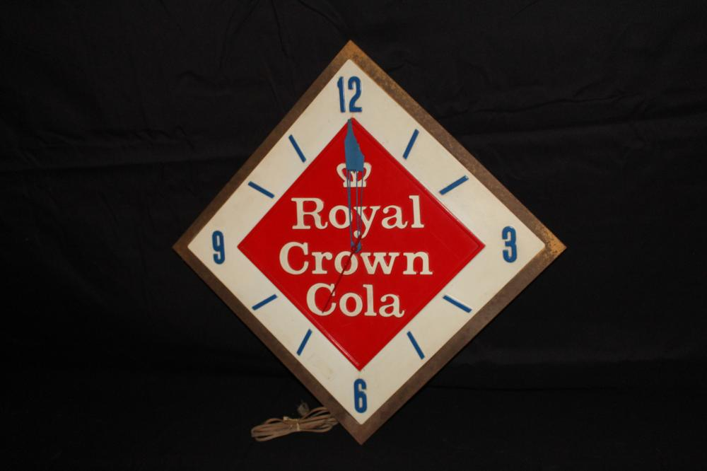 RC ROYAL CROWN COLA CLOCK SIGN