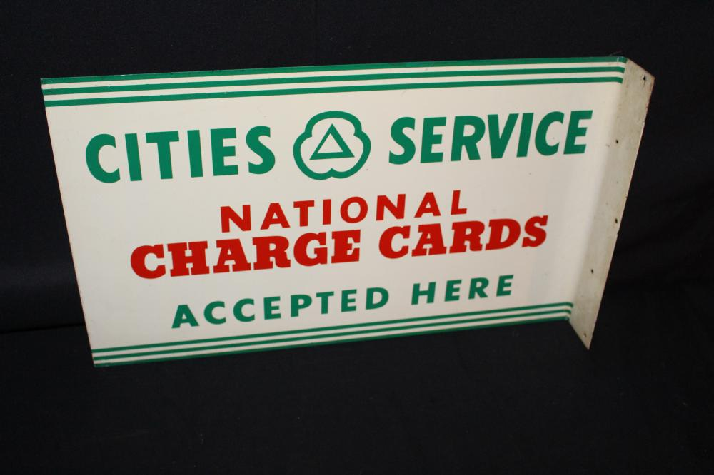 CITIES SERVICE NATIONAL CHARGE CARDS FLANGE SIGN