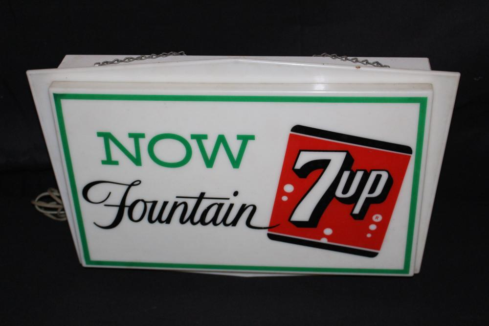 7-UP NOW SEVEN UP SODA FOUNTAIN LIGHTED SIGN 7 UP
