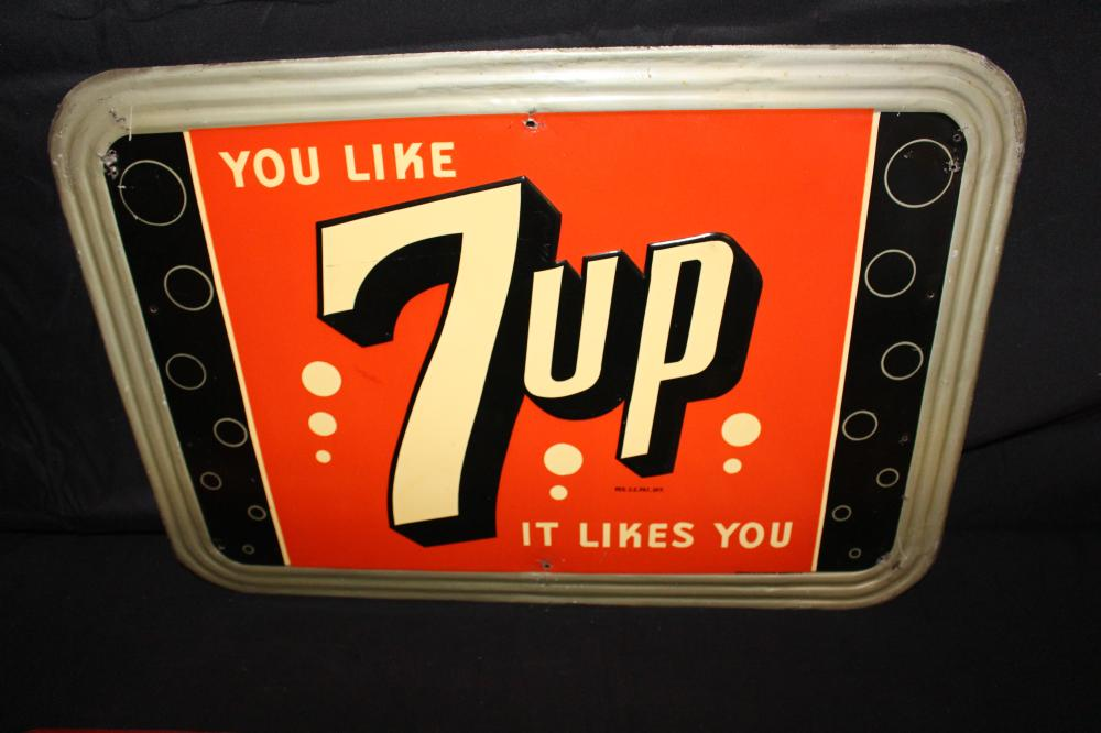 YOU LIKE 7 UP IT LIKES YOU SEVEN UP SODA POP SIGN