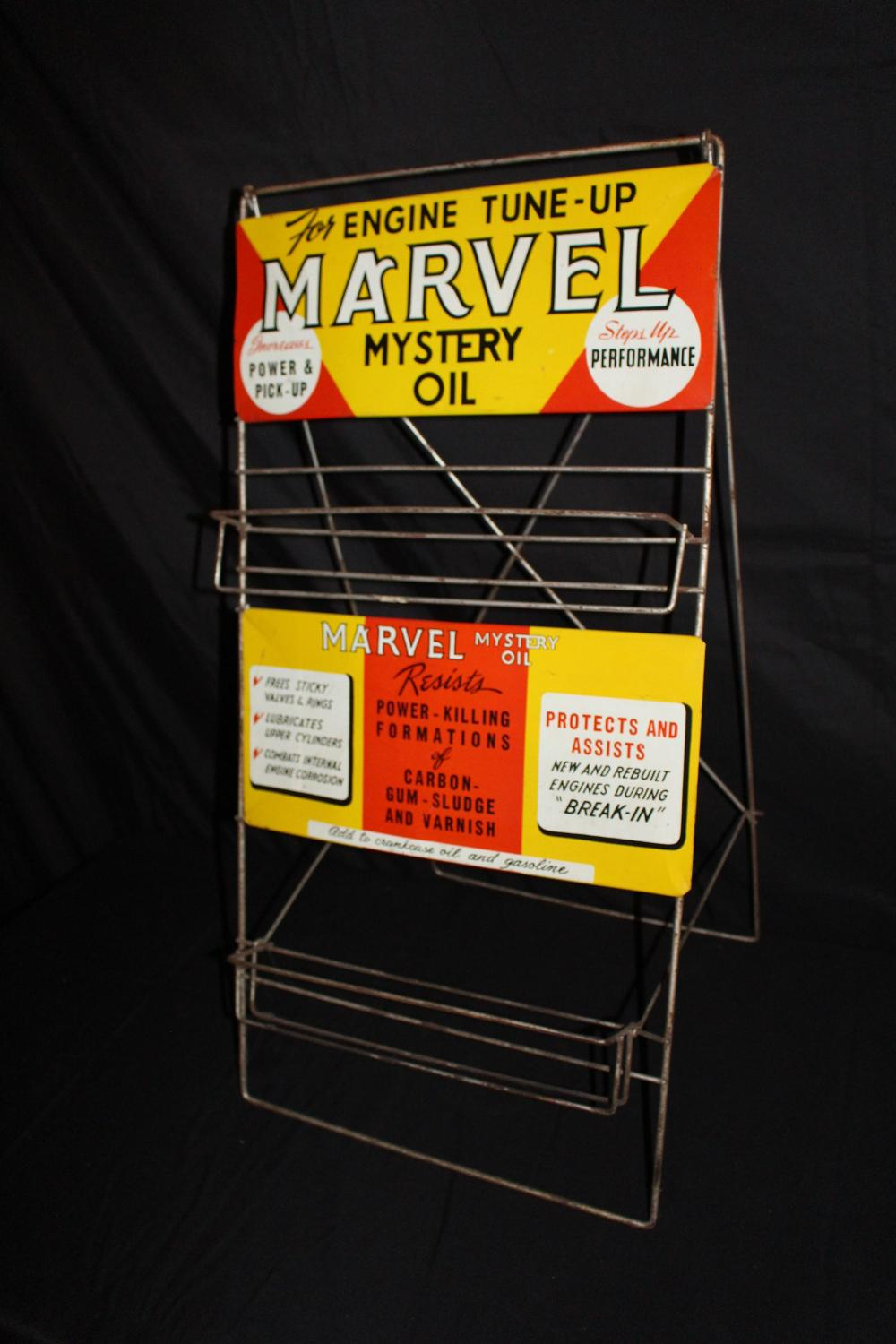 MARVEL MYSTERY OIL OIL CAN RACK SIGN