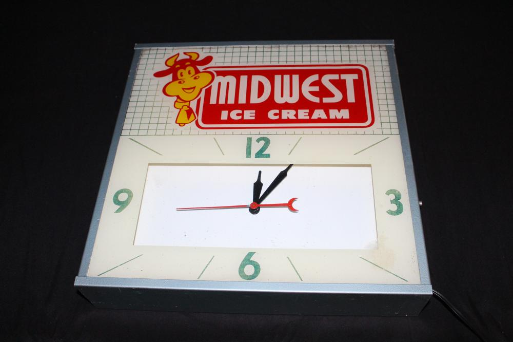 MIDWEST ICE CREAM CLOCK SIGN