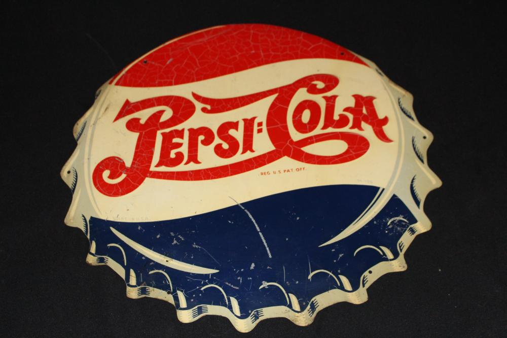 DOUBLE DOT PEPSI COLA BOTTLE CAP SIGN